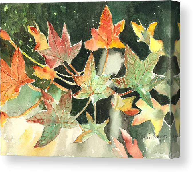 Leaf Canvas Print featuring the painting Autumn Leaves by Arline Wagner