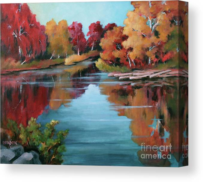 Landscape Canvas Print featuring the painting Autumn Reflexions 1 by Marta Styk