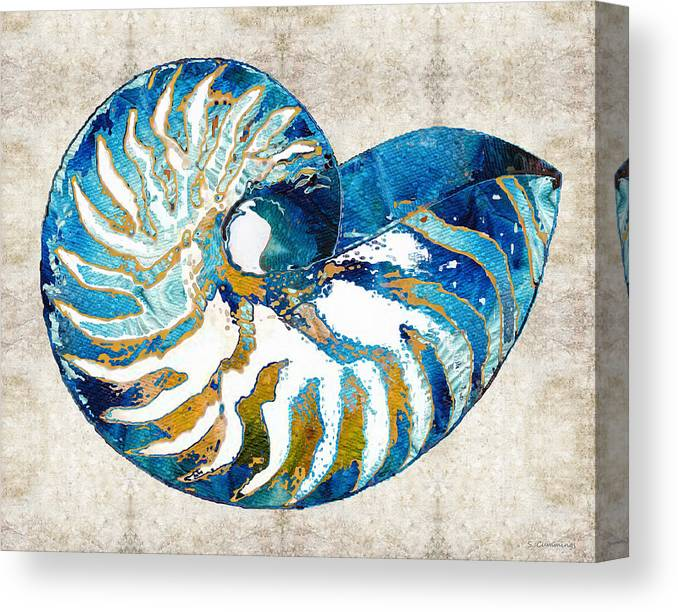 Blue Canvas Print featuring the painting Beach Art - Nautilus Shell Bleu - Sharon Cummings by Sharon Cummings