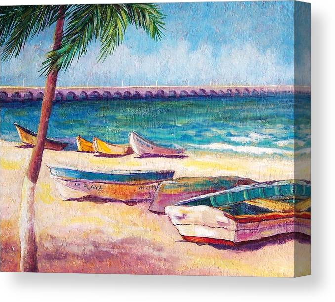 Seascape Canvas Print featuring the painting Beach At Progreso by Candy Mayer