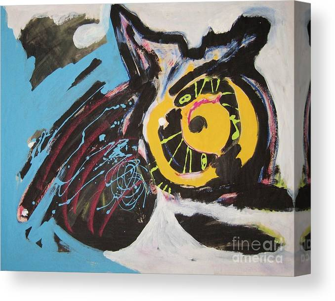 Abstract Cat Paintings Canvas Print featuring the painting Being Lazy by Seon-Jeong Kim