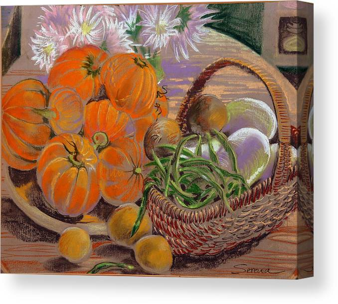 Still Life Canvas Print featuring the pastel Bernadette's Table by Serena Valerie Dolinska