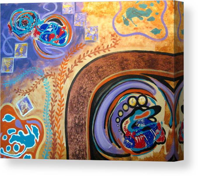 Abstract Canvas Print featuring the painting Biomorphic Botanical by Diann Baggett