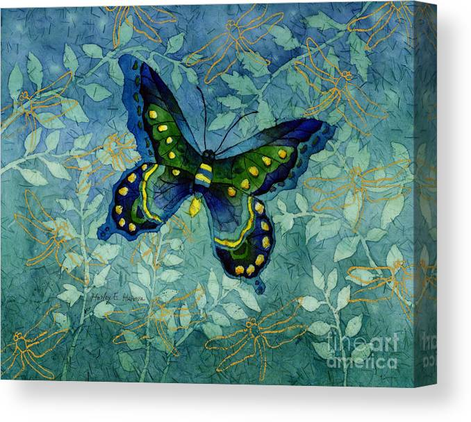 Butterfly Canvas Print featuring the painting Blue Butterfly by Hailey E Herrera