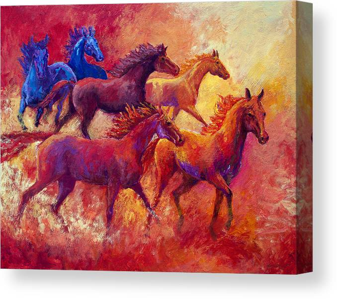 Horses Canvas Print featuring the painting Bring The Mares Home by Marion Rose