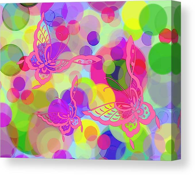 Butterfly Canvas Print featuring the digital art Butterfly Bubbles by Lorrie Morrison