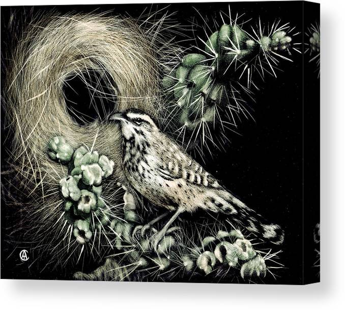 Bird Canvas Print featuring the painting Cactus Wren by Angie Cockle