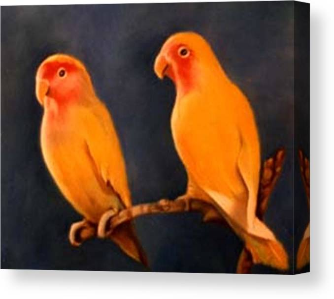 Canaries Canvas Print featuring the pastel Canaries by Jordana Sands