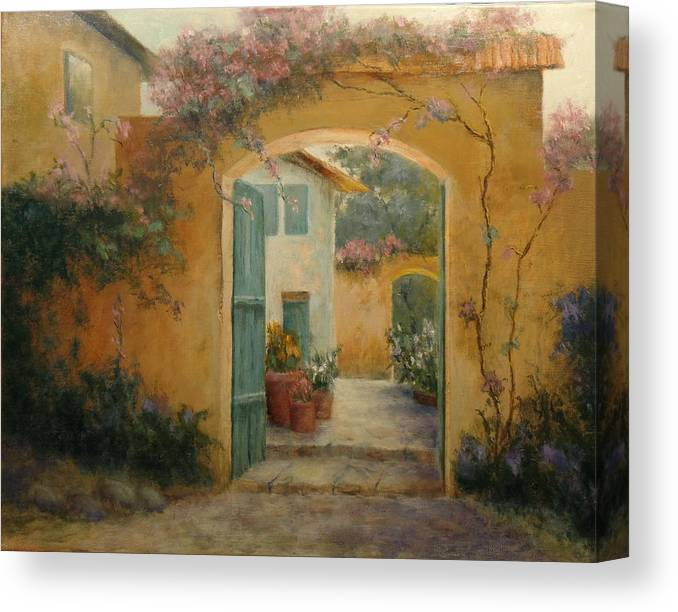 Old Building Canvas Print featuring the painting Carmel Mission by Harry Perry