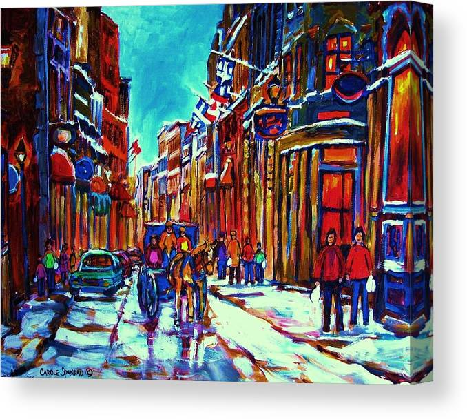 Old Montreal Canvas Print featuring the painting Carriage Ride Through The Old City by Carole Spandau