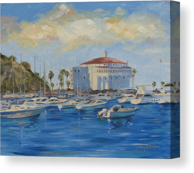 California Canvas Print featuring the painting Catallina Casino by Jay Johnson