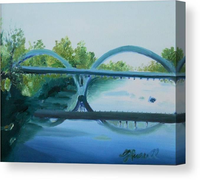 Oregon Canvas Print featuring the painting Caveman Bridge Grants Pass Oregon by DJ Russell