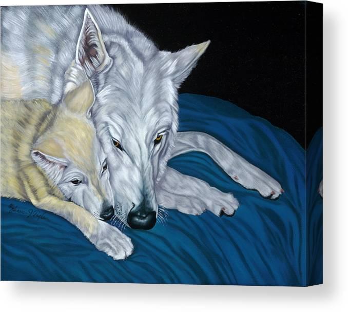 Animal Canvas Print featuring the painting Chimaya And Dakota by Lana Tyler