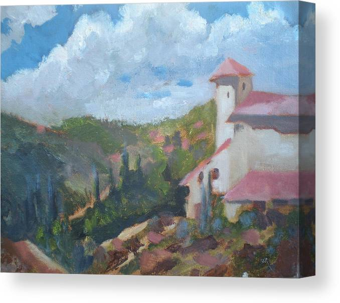 Landscape Off Del Dios Highway Canvas Print featuring the painting Cielo Villa by Bryan Alexander
