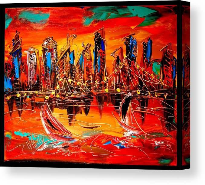 Red Poppies Canvas Print featuring the painting City by Mark Kazav