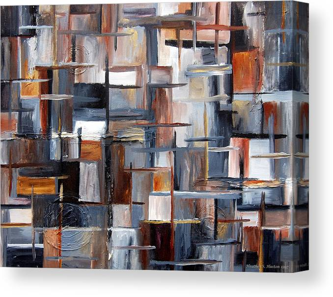 Abstract Canvas Print featuring the painting City Vibes by Heather S Huston