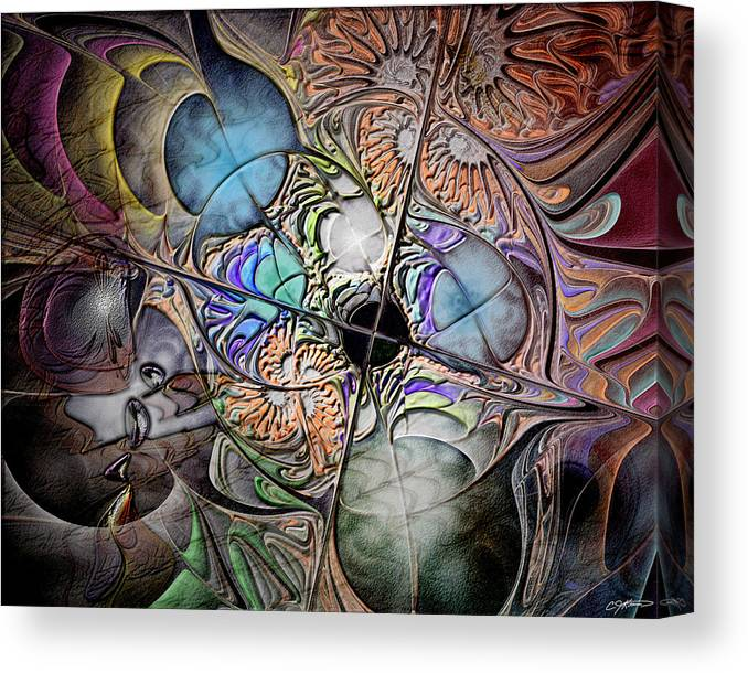 Abstract Canvas Print featuring the digital art Clash Of The Earthly Elements by Casey Kotas