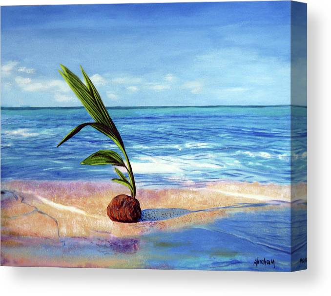 Ocean Canvas Print featuring the painting Coconut On Beach by Jose Manuel Abraham