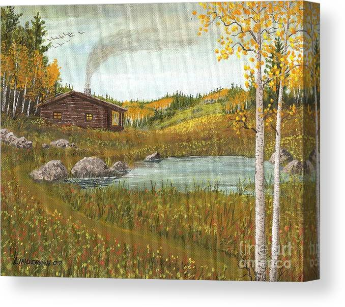 Mountain Canvas Print featuring the painting Colorado Cabin by Don Lindemann