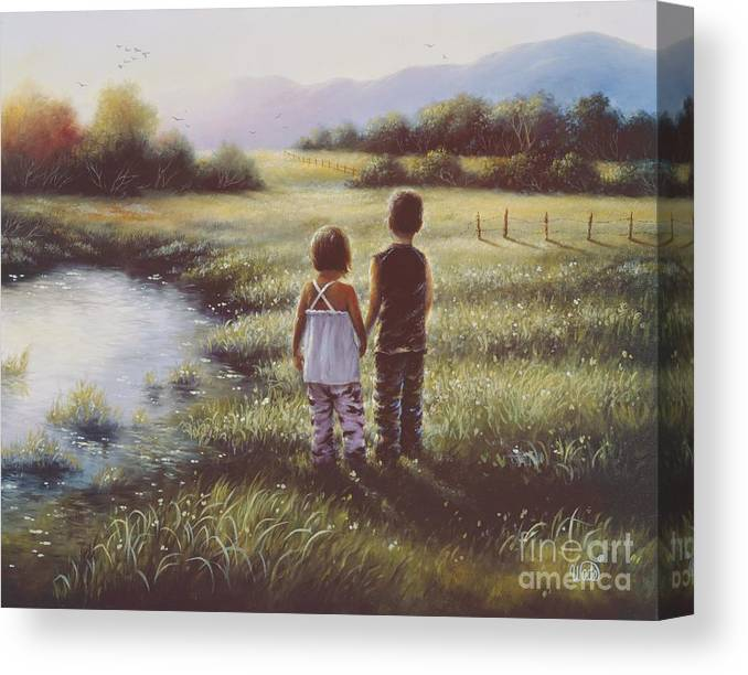 Boy Canvas Print featuring the painting Country Kids by Vickie Wade