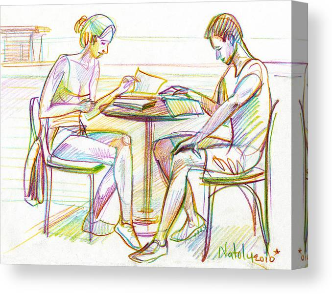 Woman Canvas Print featuring the drawing Couple Reading by Natoly Art