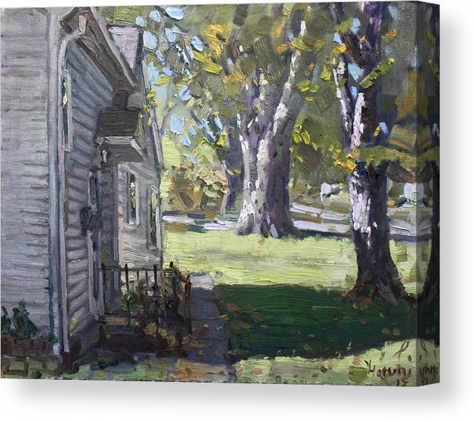 Bloomington Canvas Print featuring the painting Daniel's House In Bloomington Mn by Ylli Haruni