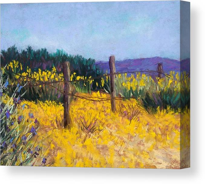 Landscape Canvas Print featuring the pastel Desert Bloom by Candy Mayer