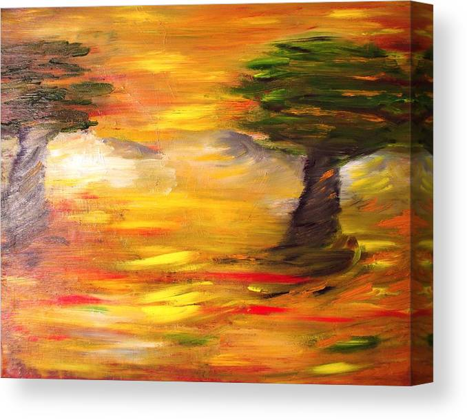 Landscape Canvas Print featuring the painting Desert Trees by Evelina Popilian