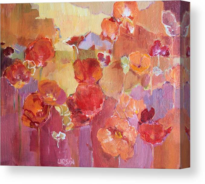 Floral Canvas Print featuring the painting Dreaming Flowers by Diane Ursin