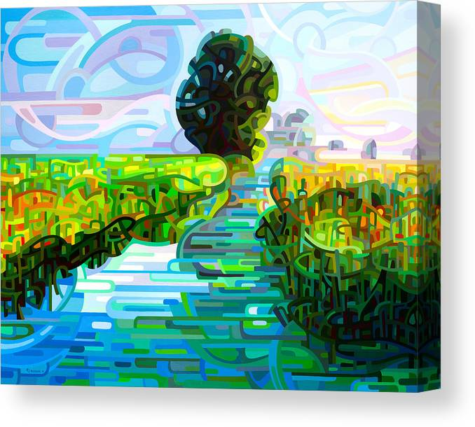 Abstract Canvas Print featuring the painting Ebb And Flow by Mandy Budan