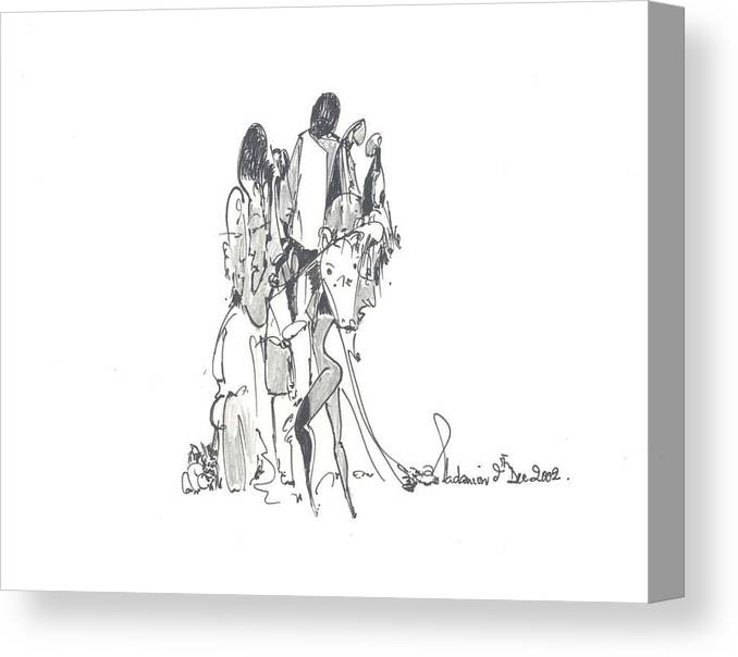 Forms Canvas Print featuring the drawing Entangled Forms by Padamvir Singh
