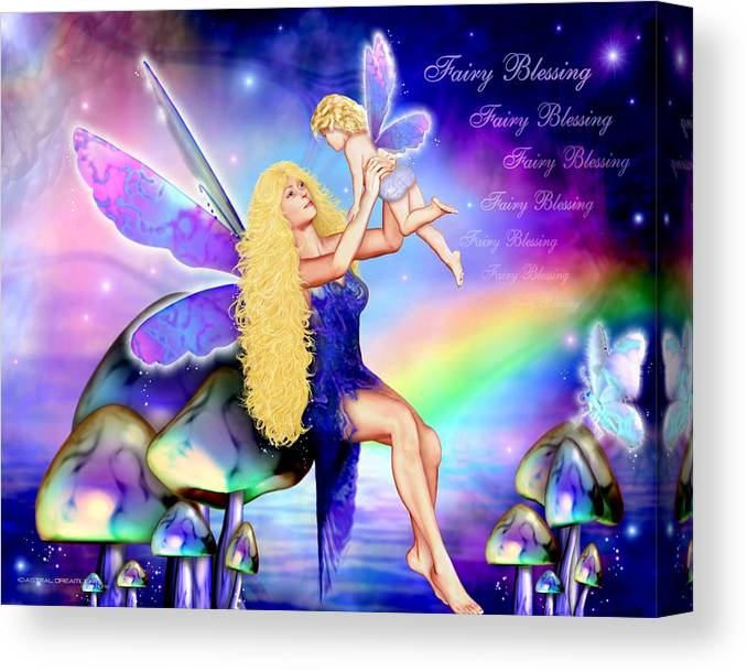 Fairy Canvas Print featuring the painting Fairy Blessing by Dreamlight Creations