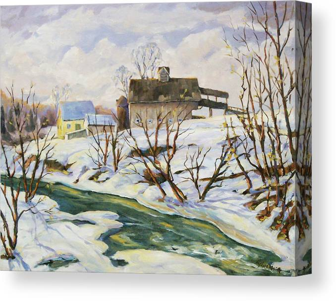 Farm Canvas Print featuring the painting Farm In Winter by Richard T Pranke