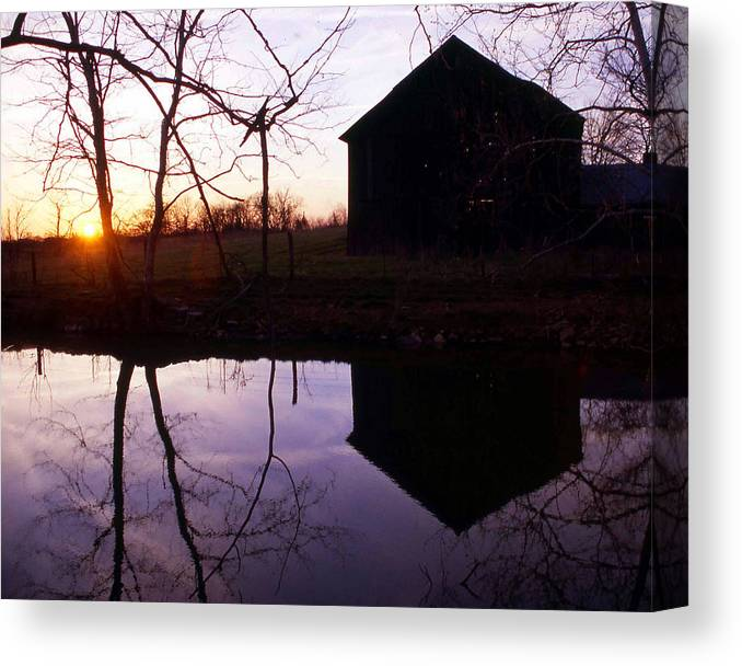 Landscape Canvas Print featuring the photograph Farm Pond At Sunset by George Ferrell