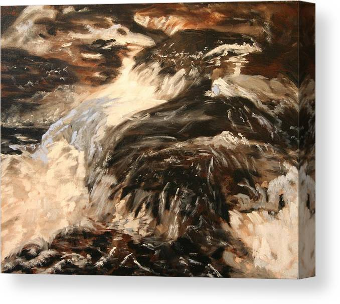 Waterscape Canvas Print featuring the painting Fast Water by Marilyn Tower