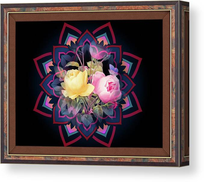 Montage Canvas Print featuring the digital art Framed Rose Bouquet Montage by Clive Littin