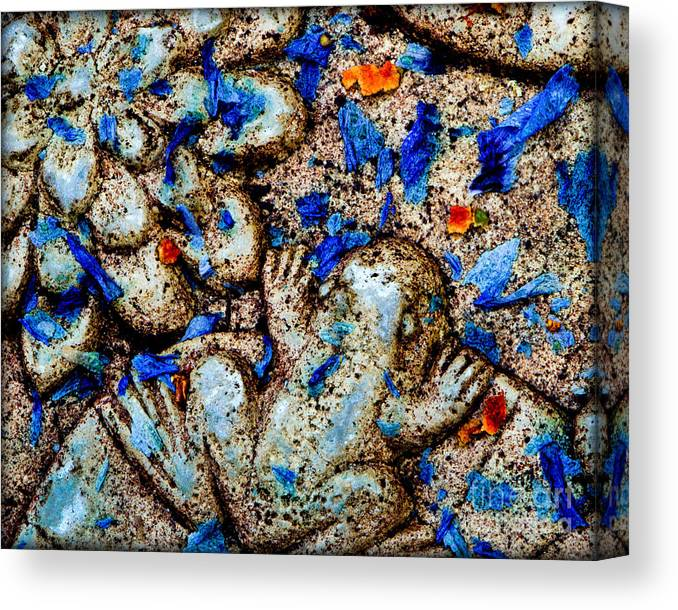 Frog Canvas Print featuring the photograph Frog And Flower Petals 2 by Michael Arend
