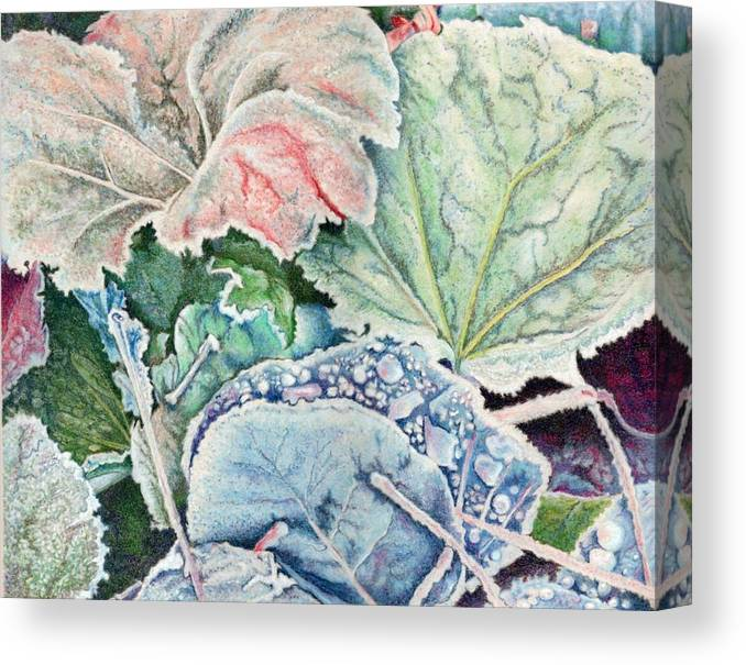 Leaves Canvas Print featuring the painting Frosted Leaves by Robynne Hardison