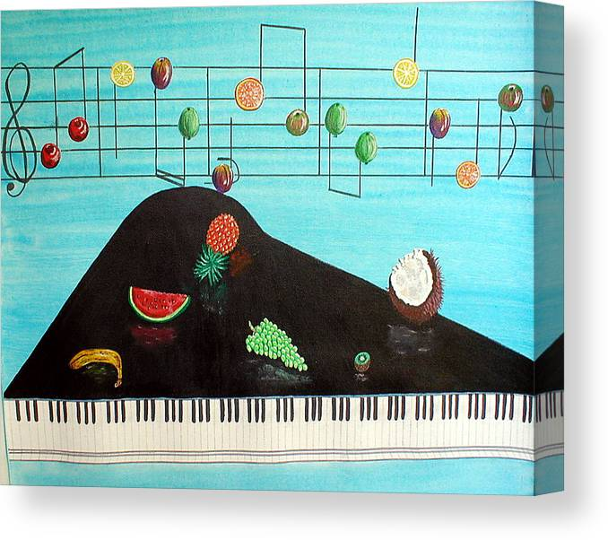 Music Canvas Print featuring the painting Fruity Tunes by Sandy Wager
