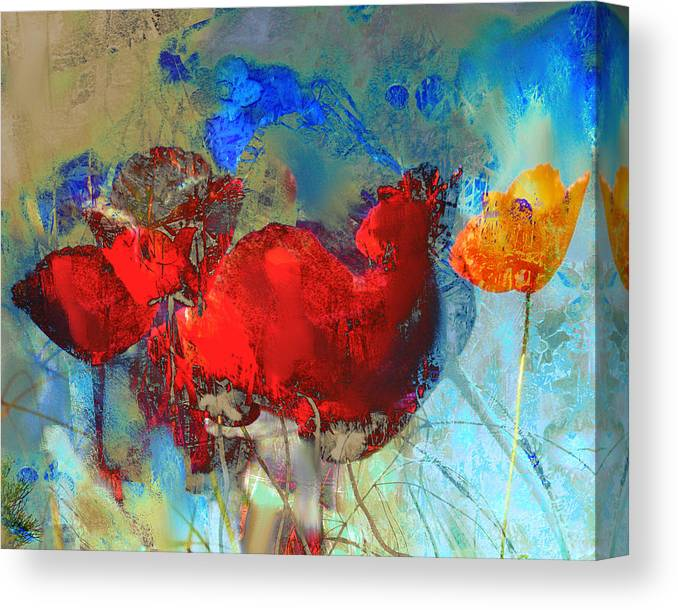 Flowers Canvas Print featuring the painting Gentle Poppies by Anne Weirich