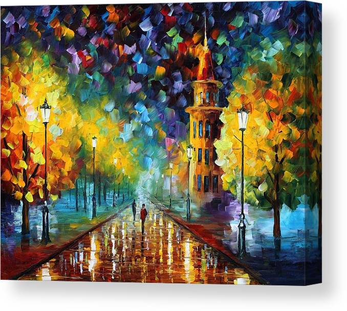 Afremov Canvas Print featuring the painting Gold Winter by Leonid Afremov