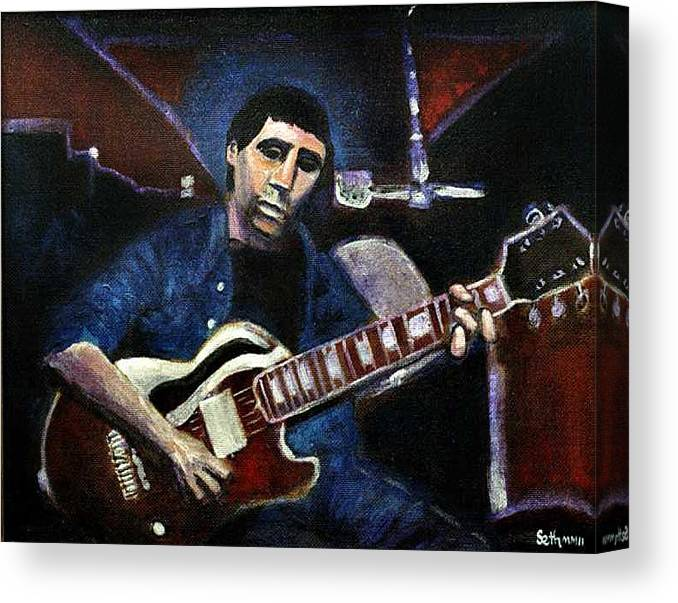 Shining Guitar Canvas Print featuring the painting Graceland Tribute To Paul Simon by Seth Weaver