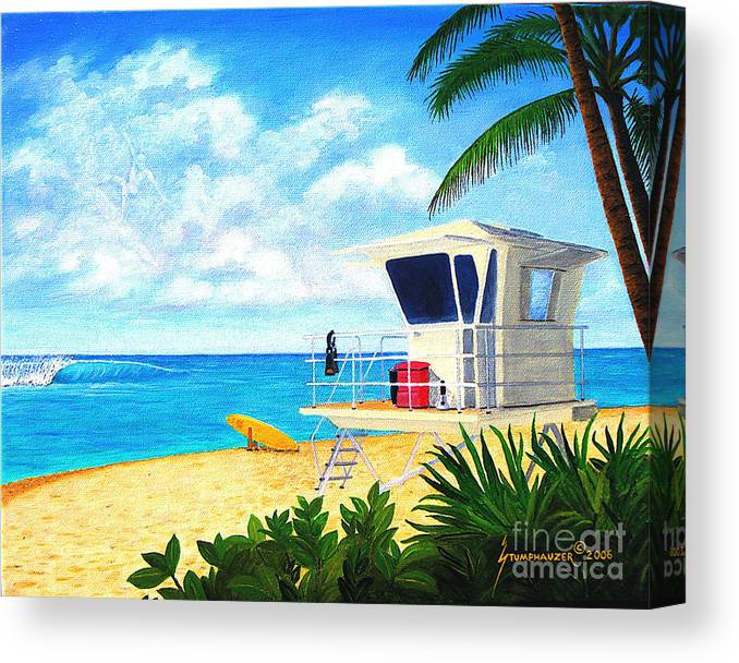 Hawaii Canvas Print featuring the painting Hawaii North Shore Banzai Pipeline by Jerome Stumphauzer