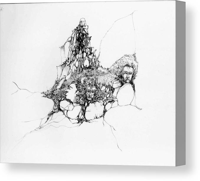 Heads Canvas Print featuring the drawing Heads Lost In Rocks by Padamvir Singh