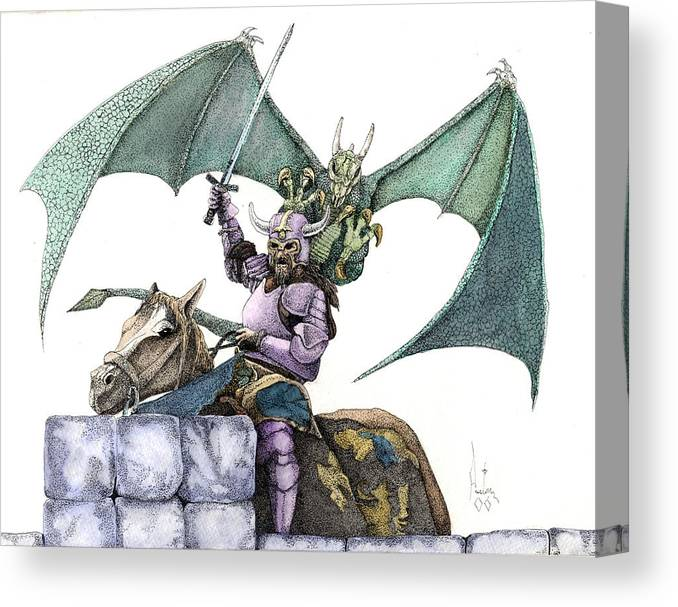 Knights Demons Dragons Wizards Magic Pagan Festival Canvas Print featuring the mixed media Hector by Preston Shupp