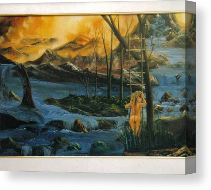 Nudes Canvas Print featuring the painting Her Ladder by Benito Alonso