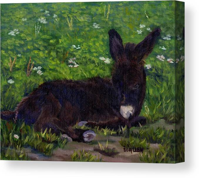 Donkey Canvas Print featuring the painting Hercules by Sharon E Allen