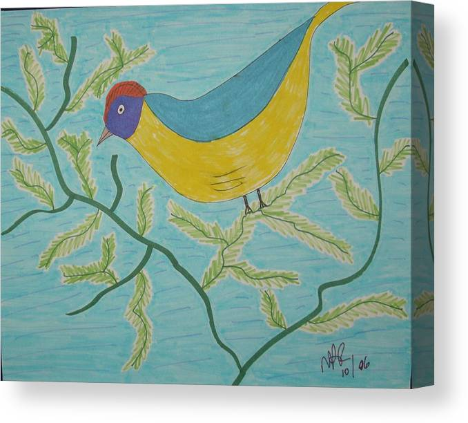 Birds Canvas Print featuring the drawing High Tail by Nicholas A Roes