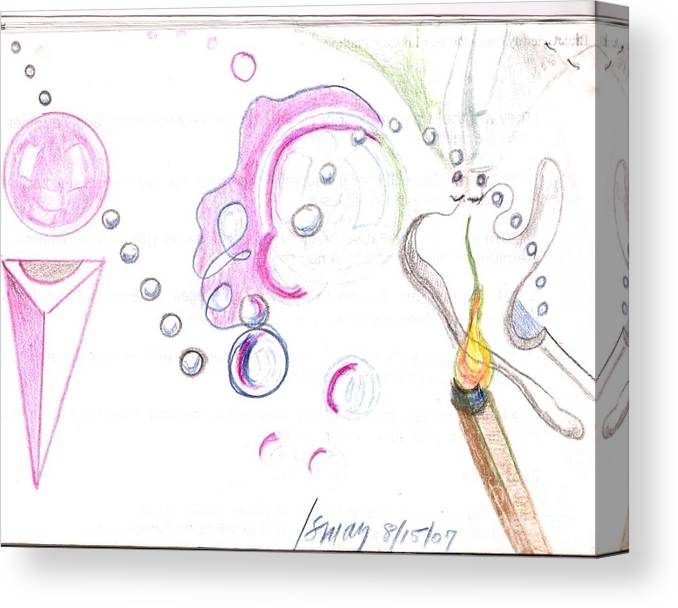 Orbs Canvas Print featuring the drawing Incendiary by Rod Ismay