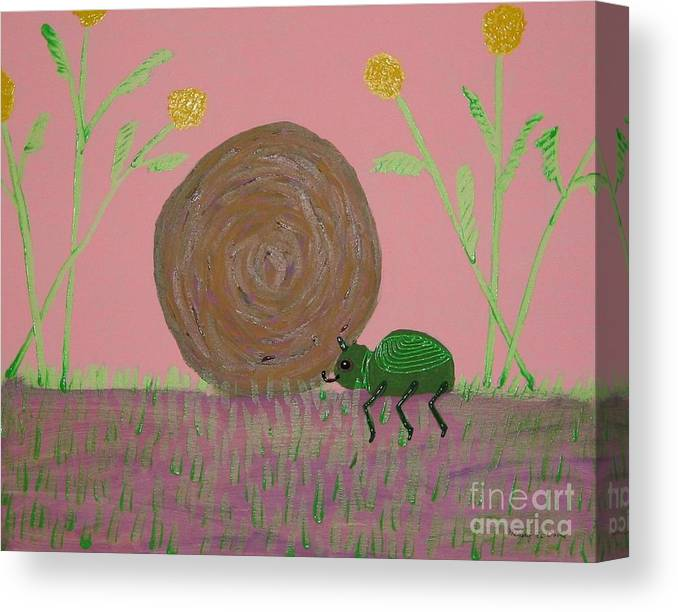 Dung Bettle Canvas Print featuring the painting Insect Happy Meal by Gregory Davis